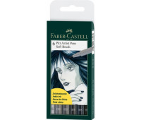 Капиллярная ручка-кисточка Набор PITT Faber-Castell artist pen SB 6 цветов - 167806