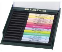 Капиллярная ручка-кисточка Faber-Castell PITT в наборе 12 шт пастельные цвета - 267420