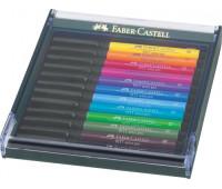 Капиллярная ручка-кисточка Faber-Castell PITT в наборе 12 шт основные яркие цвета - 267421
