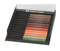 Капиллярная ручка-кисточка Faber-Castell PITT в наборе 12 шт землянные оттенки - 267422