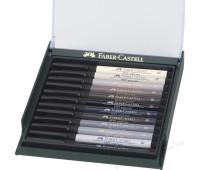 Капиллярная ручка-кисточка Faber-Castell PITT в наборе 12 шт серые цвета - 267423