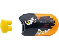 Точилка Faber-Castell, орел двойная с контейнером + ластик 183527