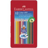 Акварельные карандаши Faber-Castell Grip 12 цветов в метал. коробке - 112413