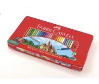 Карандаши цветные Faber-Castell 60 цв CLASSIC метал коробка + аксессуары - 115894