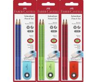 Набор 2 графитных карандаша Grip 2001 твердость В + ластик SLEEVE