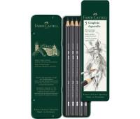 Набор графитных карандашей Faber-Castell 9000 5 шт GRAPHITE AQUARELLE НВ-8В Черный - 117805
