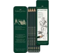 Набор графитных карандашей Faber-Castell 9000 6 шт Н-8В металлическа коробка - 119063
