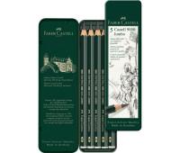 Набор графитных карандашей 5 шт. НВ-8В JUMBO маталлический пенал - 119305