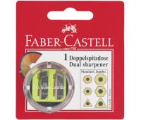 Двойная точилка Faber-Castell цветная с контейнером в блистере, 185498