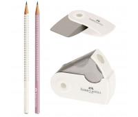 Набор Faber-Castell 2 карандаша чернографитных Grip Sparkle с точилкой и ластиком Sleeve, 218481