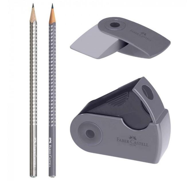 Набор Faber-Castell 2 карандаша чернографитных Grip Sparkle с точилкой и ластиком Sleeve, 218482