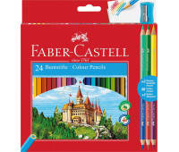 """Карандаши цветные Faber-Castell 24 цвета """"Замок"""" + 3 двухцветных карандаша + точилка, 110324"""