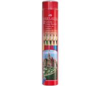 Карандаши цветные Faber-Castell 12 цветов в металлическом тубусе, 115826