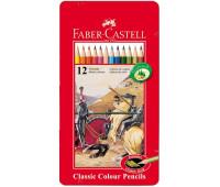 Карандаши цветные Faber-Castell 12 цветов в металлической коробке, 115844