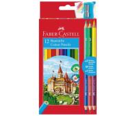 "Карандаши цветные Faber-Castell 12 цветов ""Замок"" + 3 двухцветных карандаша + точилка, 110312"