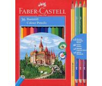 """Карандаши цветные Faber-Castell 36 цветов """"Замок"""" + 3 двухцветных карандаша+ 1 чернографитный+ точилка, 110336"""