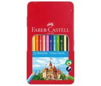"""Карандаши цветные Faber-Castell 12 цветов """"Замок"""" в металлической коробке, 115801"""