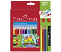 Карандаши цветные Faber-Castell 18 цветов трехгранные + 4 основных цвета + 2 чернографитных карандаша, 201597