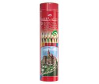 Карандаши цветные Faber-Castell 24 цвета в металлическом тубусе, 115827