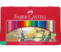 Карандаши цветные Faber-Castell 36 цветов в металлической коробке, 115846