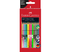 Карандаши цветные Faber-Castell Grip 2001 трехгранные 12 цветов (пастель + неон + металлик ), 201569