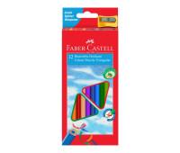 Карандаши цветные Faber-Castell 12 цветов трехгранные + точилка, 120523