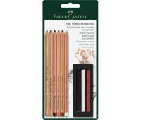 Набор пастельных карандашей Faber-Castell PITT Monochrome 9 предметов в блистере, 112998