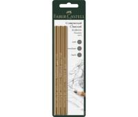 Набор Faber-Castell PITT Charcoal прессованный уголь-карандаш 3 шт. разных твердостей, 119999