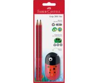 Набор в блистере Faber-Castell 2 карандаша чернографитных Grip 2001 В + точилка, 183570