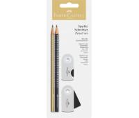 Набор в блистере Faber-Castell 2 карандаша чернографитных Grip Sparkle с точилкой и ластиком Sleeve, 218484