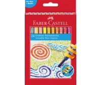 Мелки восковые выкручивающиеся в пластиковом корпусе Faber-Castell 24 цвета в картонной коробке, 120004