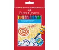 Мелки восковые выкручивающиеся в пластиковом корпусе Faber-Castell 12 цветов в картонной коробке, 120003
