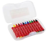 Мелки восковые Faber-Castell Jumbo трехгранные в пластиковом пенале 12 цветов, 120011