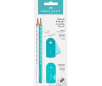 Набор Faber-Castell 2 карандаша чернографитных Grip Sparkle Pearl с точилкой и ластиком Sleeve, 218476
