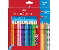 Акварельные цветные карандаши Faber-Castell Grip 18 цветов + 6 арт 201540
