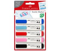 Фломастеры по ткани Faber-Castell Textile Marker Set Baby-Colours, 5 цветов в блистере, 159530