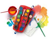 """Акварельные краски Faber-Castell CONNECTOR """"Скрепляй вместе"""" сухие 24 цвета, с кроющими белилами, 125031"""