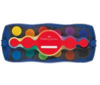 """Акварельные краски Faber-Castell CONNECTOR """"Скрепляй вместе"""" сухие 12 цветов + кисточка и белила, 125050"""