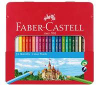 Карандаши цветные Faber-Castell Замок 24 цвета в металлической коробке, 115824