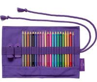 Цветные карандаши Faber-Castell Grip Sparkle 20 цветов в тканевом пенале-ролле с аксессуарами, 201738
