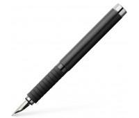 Ручка перьевая faber-castell essentio black leather корпус черная кожа, перо f, 148831