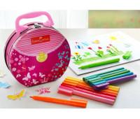 Фломастеры Connector 33 цвета мет пенал сумка Faber-Castell 155537