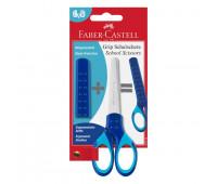 Ножницы детские Faber-Castell Grip синие для правши и левши с колпачком 181549