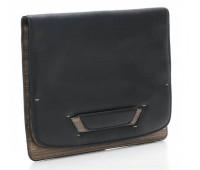 Мужская кожаная сумка-трансформер Bag Folio by Pininfarina с наплечными ремнями черная с коричневым