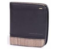 Горизонтальное портмоне на 8 карт Wallet 8 Card Folio by Pininfarina черное с коричневыми вставками