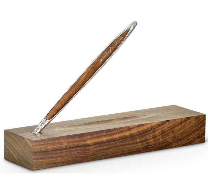 Вечный карандаш Pininfarina Cambiano Silver Luxury Edition, корпус серебряный, древесина грецкий орех