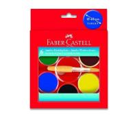 Акварель Faber-Castell 6 цв сухие с кисточкой d=40мм 125007