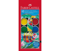 Акварель Faber-Castell 12 цв сухие с кисточкой d=30мм 125012