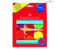 Акварель Faber-Castell 12 цв неон сухие с кисточкой d=40мм 125015