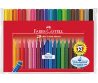 Фломастеры Faber-Castell 20 цв Grip трехганные в полиэтиленовой упаковке - 155320